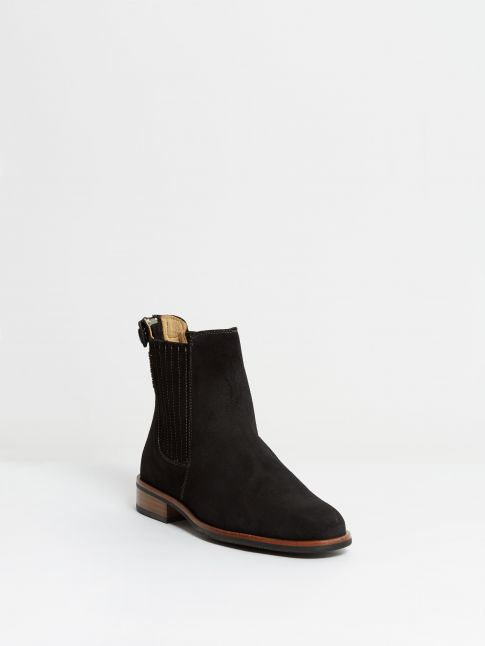 Kingsley Berlin Chelsea Boots sensory black, white stitching front view