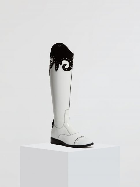 Kingsley Olbia 01 Riding Boots Top Julie roma white, sensory black front view