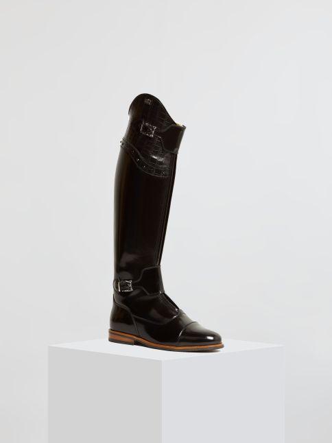 Kingsley London 02 Riding Boots uragano black, croco beleza black front view