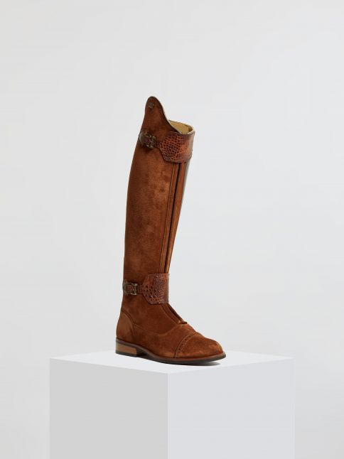 Kingsley London 02 Riding Boots sensory chestnut, alligator brown front view
