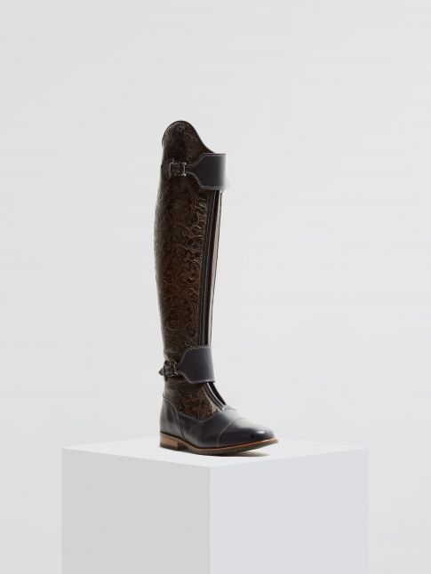 Kingsley London 02 Riding Boots oak dark brown, nature blue front view