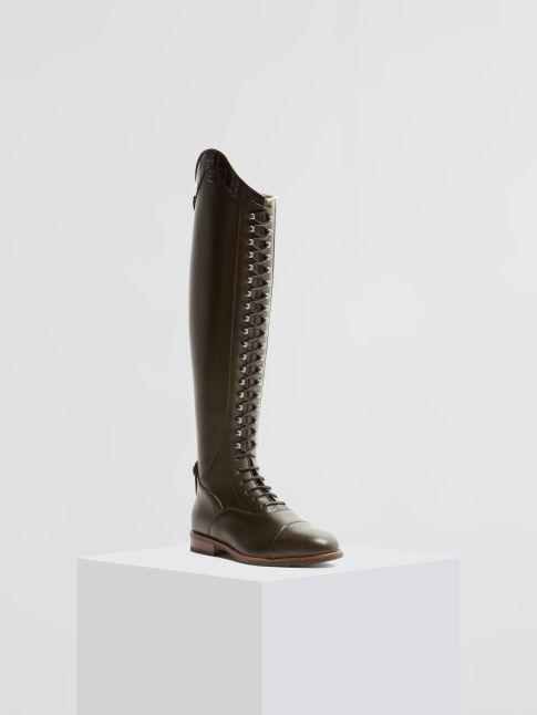 Kingsley Orlando 01 Riding Boots nature kaki, croco bril black front view