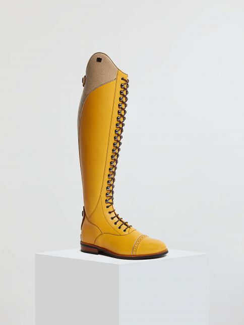 Kingsley Orlando 01 Riding Boots nature canary, snake beige front view