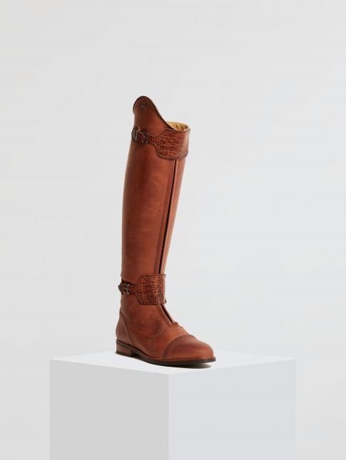 Kingsley London 02 Riding Boots gaucho chestnut, alligator brown front view