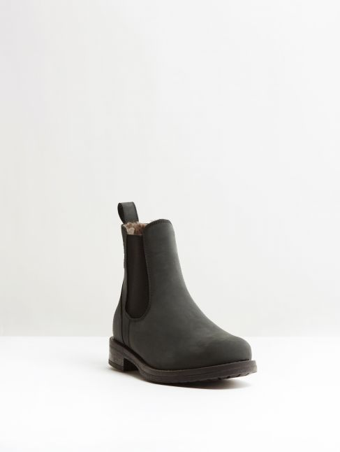 Kingsley Amsterdam Chelsea Boots with Taupe Sheepskin gaucho black, black front view