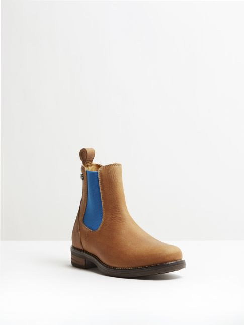 Kingsley Amsterdam Chelsea Boots gaucho brown, royal blue front view
