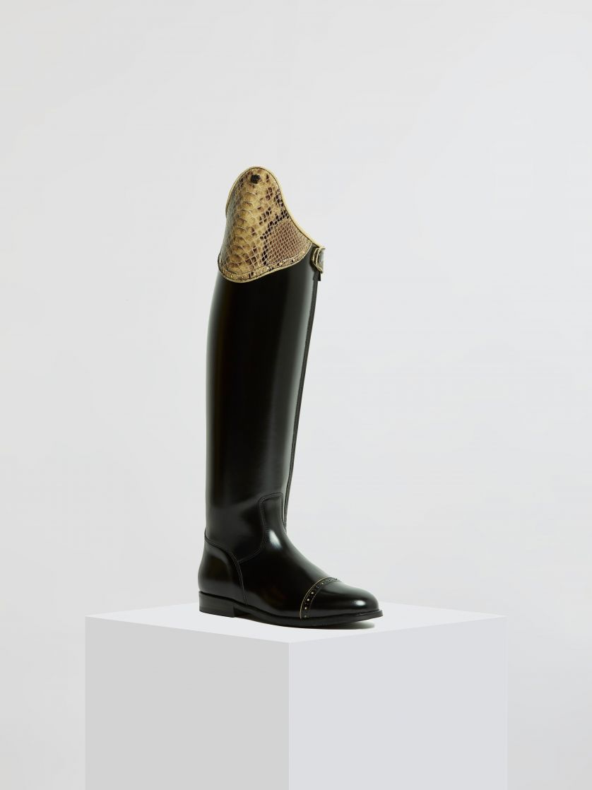 Kingsley Capri Riding Boots uragano black, special python creme front view