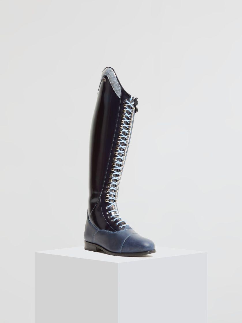 Kingsley Orlando 02 Riding Boots uragano blue, silver mosaic front view